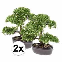 2x groene mini bonsai boompje kunstplanten in pot 32