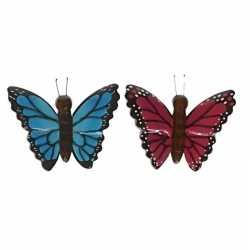 2x houten dieren magneten blauwe roze vlinder
