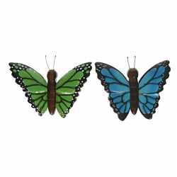 2x houten dieren magneten groene blauwe vlinder