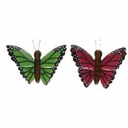 2x houten dieren magneten groene roze vlinder