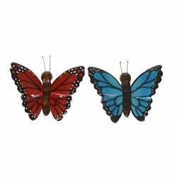 2x houten magneten vlinders rood blauw