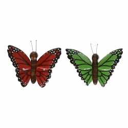2x houten magneten vlinders rood groen