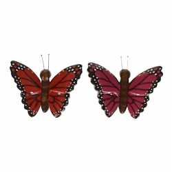 2x houten magneten vlinders rood roze
