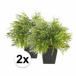 2x kunstplant bamboe mix groen in pot 25