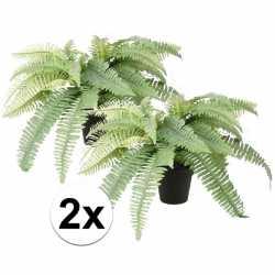 2x kunstplant varen groen in zwarte pot 45