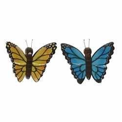 2x vlinder magneten geel blauw van hout