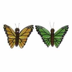 2x vlinder magneten geel groen van hout