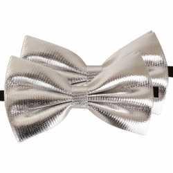 2x zilveren verkleed vlinderstrikjes 14 dames/heren