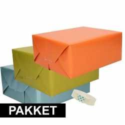 3x kraft inpakpapier rolletje plakband pakket 2