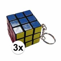 3x stuks sleutelhangers kubus spelletjes