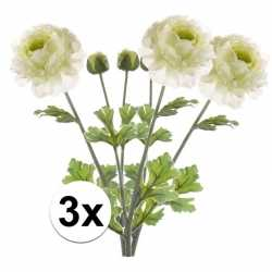 3x wit groene ranonkel kunstbloemen tak 45