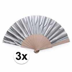 3x zilveren spaanse handwaaiers 42