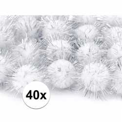 40x witte knutsel pompons 20 mm