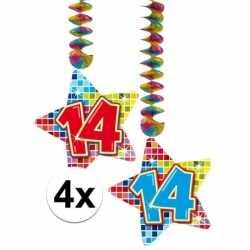 4x hangdecoratie sterren 14 jaar