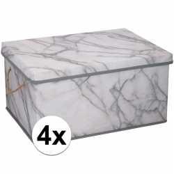 4x opbergboxen / opbergdozen marmer 40 25 liter