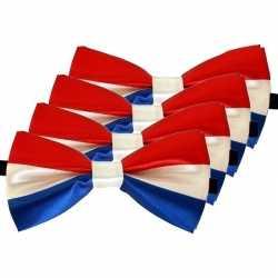 4x rood/wit/blauw verkleed vlinderstrikjes 12cm dames/heren