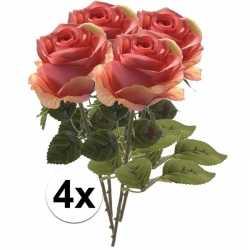 4x roze rozen simone kunstbloemen 45