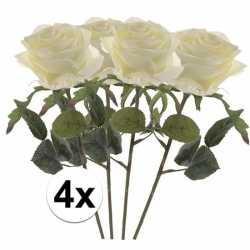 4x witte rozen simone kunstbloemen 45