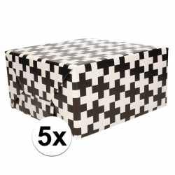 5x inpakpapier zwart wit patroon 200 bij 70 op rol