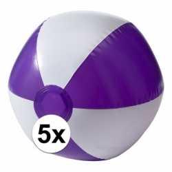 5x opblaasbare speelgoed strandballen paars