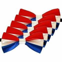 5x rood/wit/blauw verkleed vlinderstrikjes 12cm dames/heren