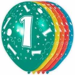 5x stuks 1 jaar thema versiering heliumballonnen 30