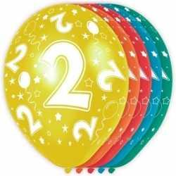 5x stuks 2 jaar thema versiering heliumballonnen 30