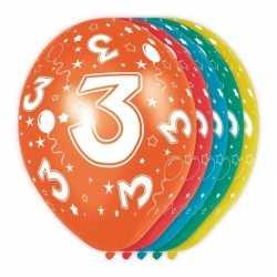 5x stuks 3 jaar thema versiering heliumballonnen 30