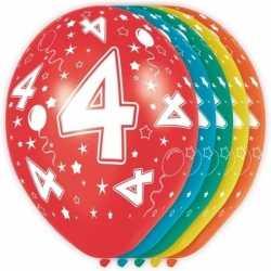 5x stuks 4 jaar thema versiering heliumballonnen 30