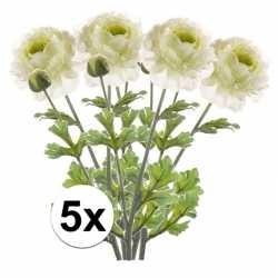 5x wit groene ranonkel kunstbloemen tak 45