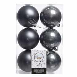 6x antraciet kerstversiering kerstballen kunststof 8