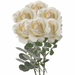 6x creme witte rozen/roos kunstbloemen 37