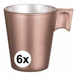 6x espresso/koffie kopje rose goud