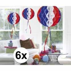 6x feestversiering decoratie bollen in amerikaanse kleuren 30
