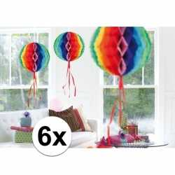 6x feestversiering decoratie bollen in regenboog kleuren 30