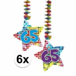 6x hangdecoratie sterren 65 jaar