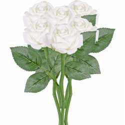 6x witte rozen/roos kunstbloemen 27