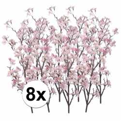 8x appelbloesem roze kunstbloemen 104