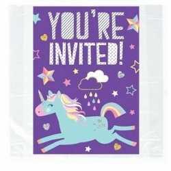 8x eenhoorn themafeest uitnodigingen/kaarten