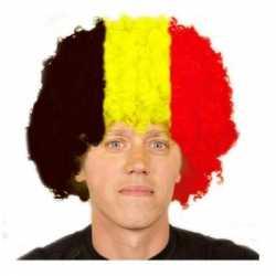 Afro pruik zwart rood geel
