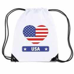 Amerika usa hart vlag nylon rugzak wit