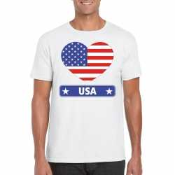 Amerika/ usa hart vlag t shirt wit heren
