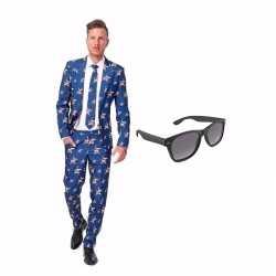 Amerikaanse vlag heren kostuum maat 52 (xl) gratis zonnebril