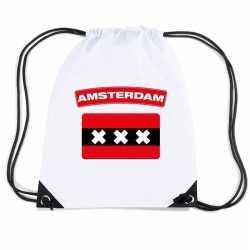Amsterdam nylon rugzak wit amsterdamse vlag