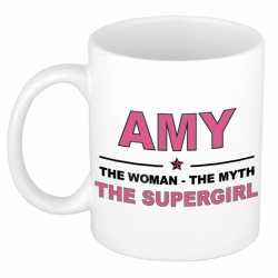 Amy the woman, the myth the supergirl cadeau koffie mok / thee beker 300 ml