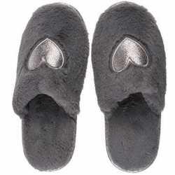 08fc415b98e5e0 Antraciet grijze pantoffel dames slippers hartjes | Yahh.nl