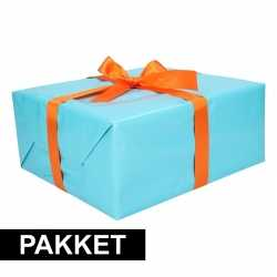 Aqua inpakpapier pakket oranje lint plakband