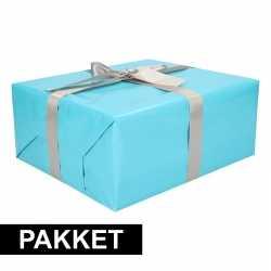 Aqua inpakpapier pakket zilver lint plakband