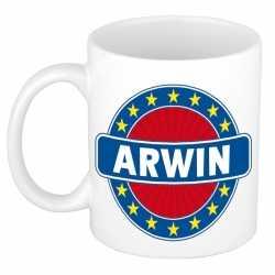 Arwin naam koffie mok / beker 300 ml