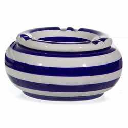 Asbak blauw/wit gestreept 13,5